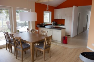 Küche im offenen Wohn-/Essbereich